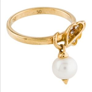 Christian Dior 18K ring with Pearl Charm and 💎